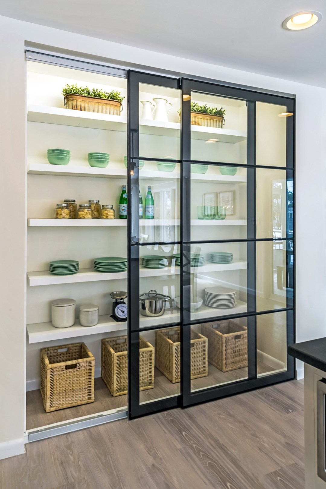 Kitchen Pantry in Wellington Parkway, Bethany Beach DE with Sliding Glass Doors and White Shelves