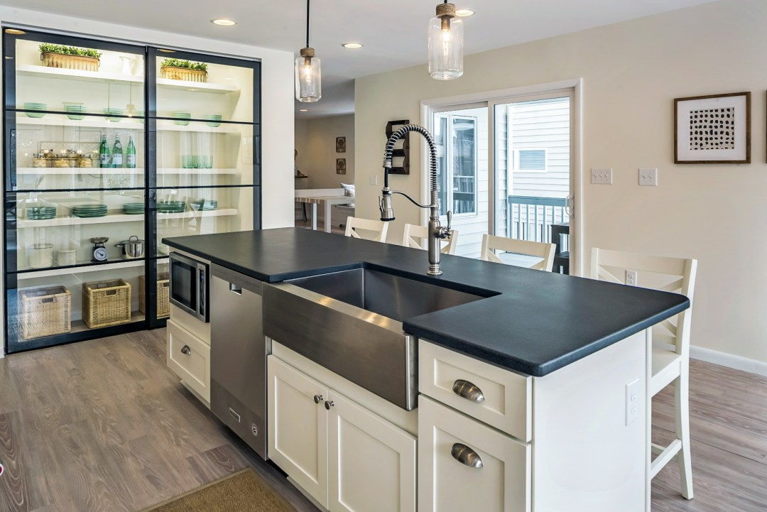 Center Isle with Large Stainless Steel Sink in Wellington Parkway, Bethany Beach DE Renovation