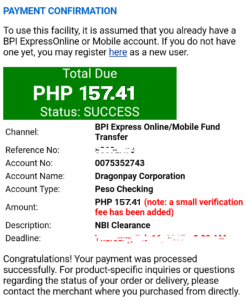 NBI Clearance Online Application Payment Successful