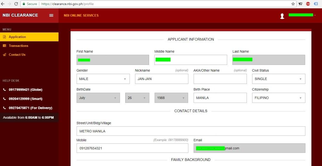 NBI Clearance Online Application information input