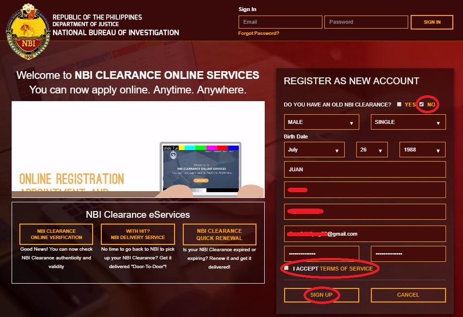 NBI Clearance Online Application webpage