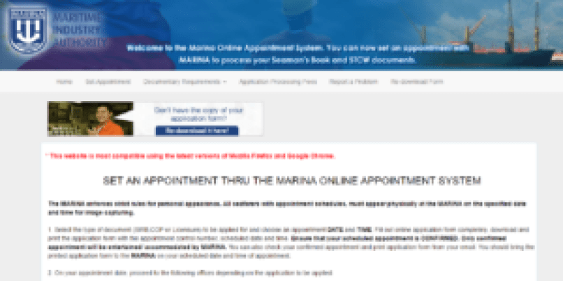 Marina appointment webpage for seaman's book application online