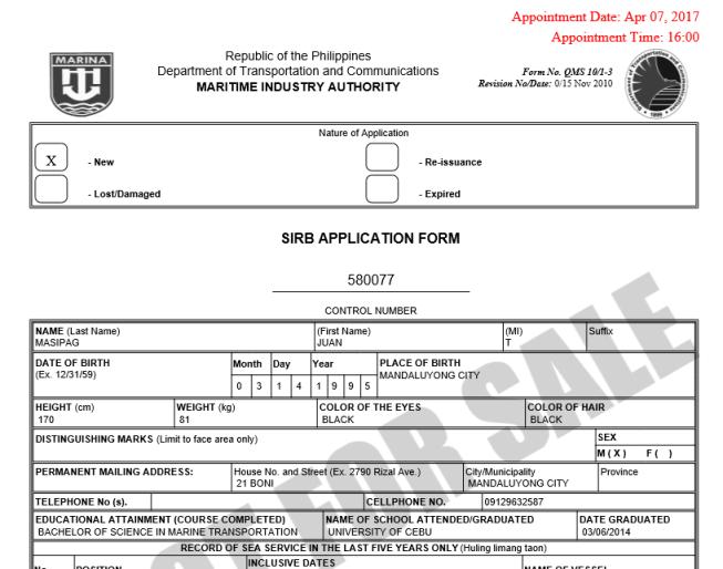 seaman's book/ SIRB Application form