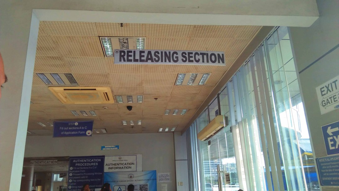 Passport renewal process. Releasing section