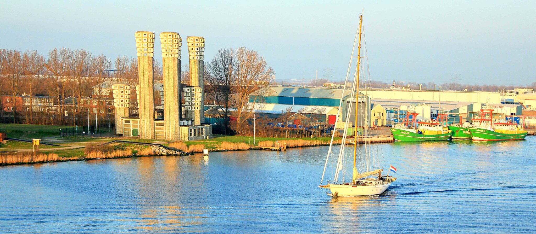 Seaman Memories. Sailboat cruising at the channel.