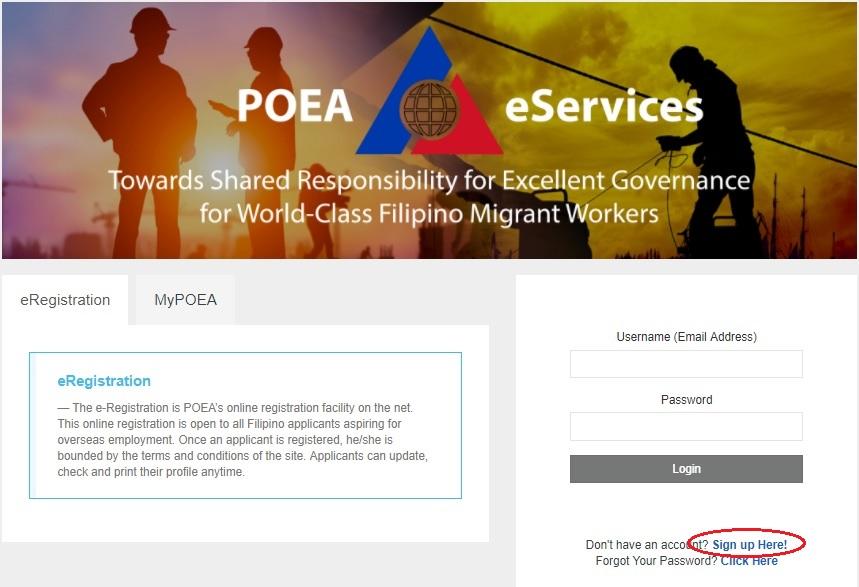 POEA e-Services Home page sample