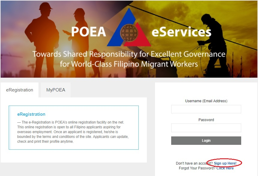 POEA eServices Home page sample