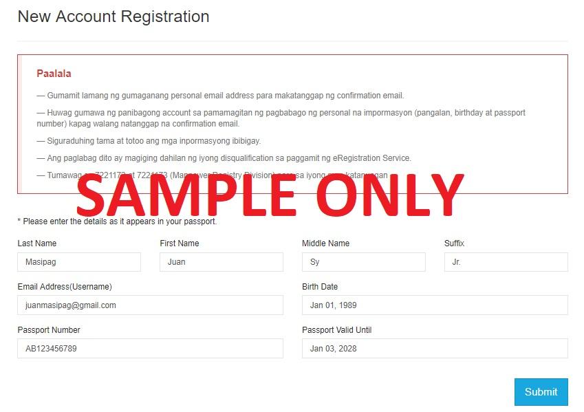 POEA online system. New account registration