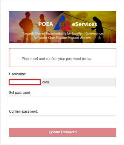 Setting up password