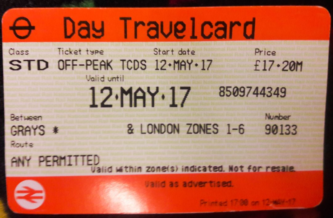 Sample Ticket Travelling to London from Grays