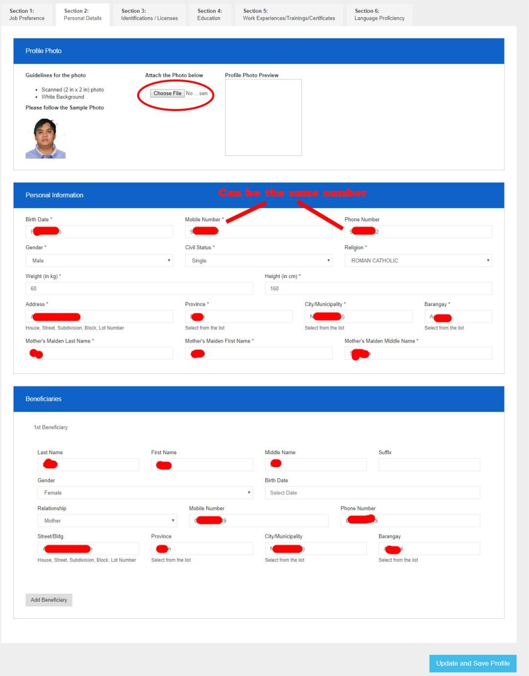 POEA e-registration Sample: Section 2 - Personal Details