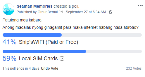 Informal survey conducted to seafarers regarding internet access while abroad. Do they have WIFI facilities on board or do they rely on local SIM Cards for internet connection?