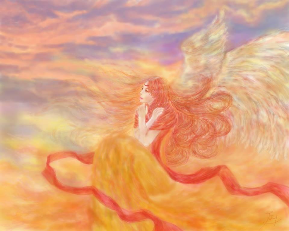 Hiroka's Painting. An Angel in the Golden Sky.