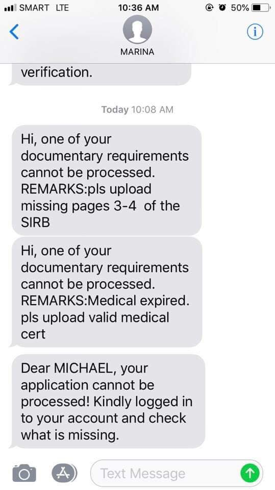 A Sample of SMS received from MISMO regarding the status of your application