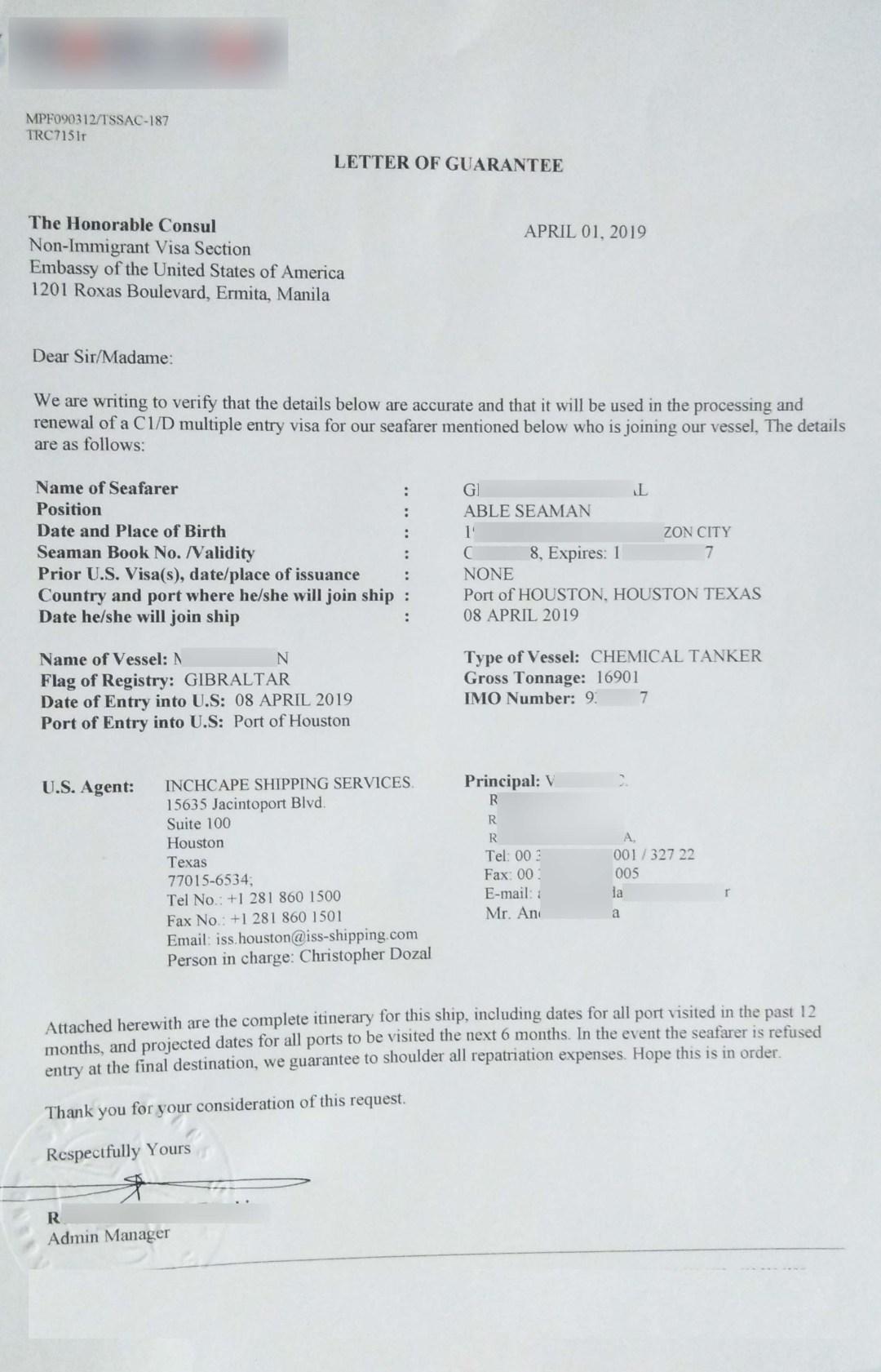 US visa application Letter of Guarantee