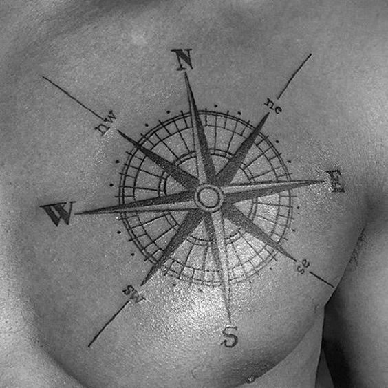 Compass Rose tattoo on a sailor's chest.