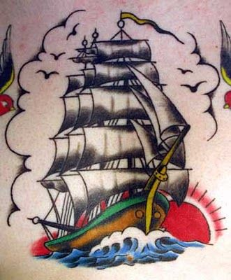 Fully rigged ship tattoo.