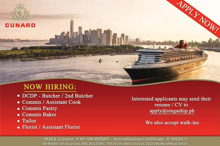 Singa Ship Management Offering Jobs for their Partner Company Cunard Line