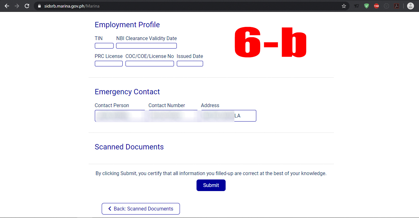 Reviewing your documents, personal information and appointment details of your SID/ SRB application