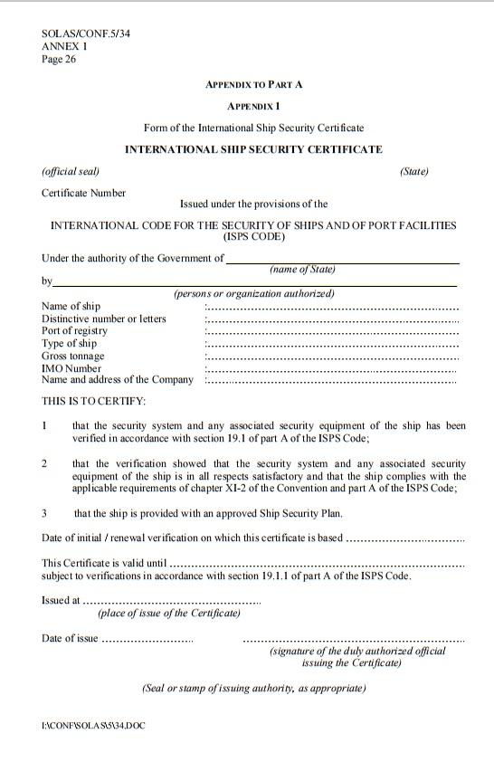 International Ship Security Certificate