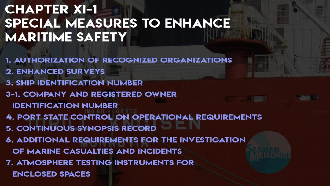 SOLAS Chapter XI-1 - Special measures to enhance maritime safety