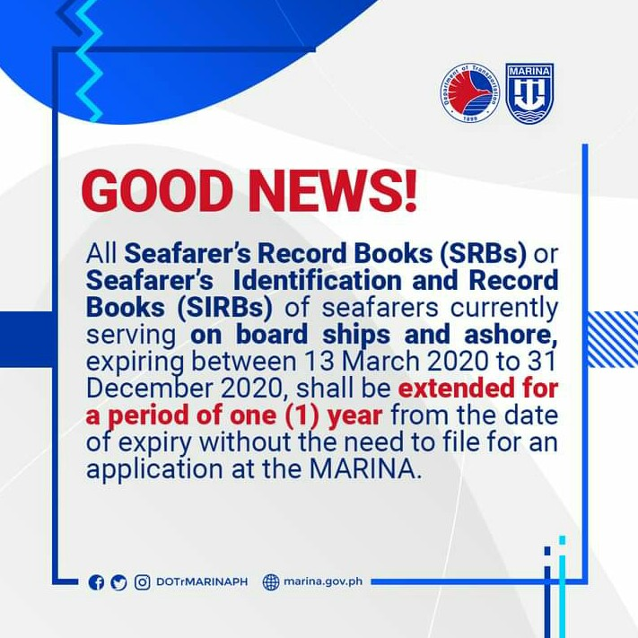 Announcement from MARINA extending expired seaman's book this year for another 12 months