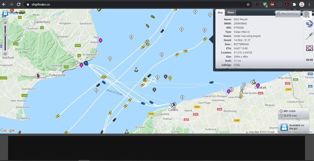 Vessel tracking using ShipFinder.co