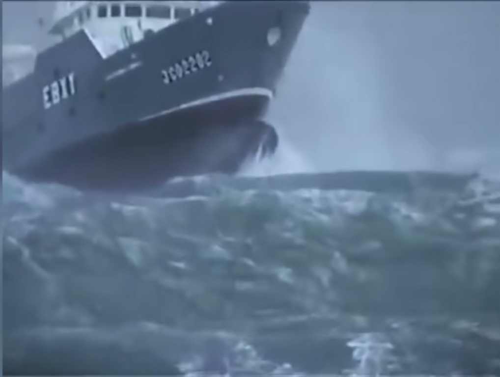 Fishing boat caught in a storm