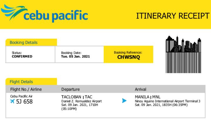 Byaheng Manila first requirement: Flight Itinerary Receipt