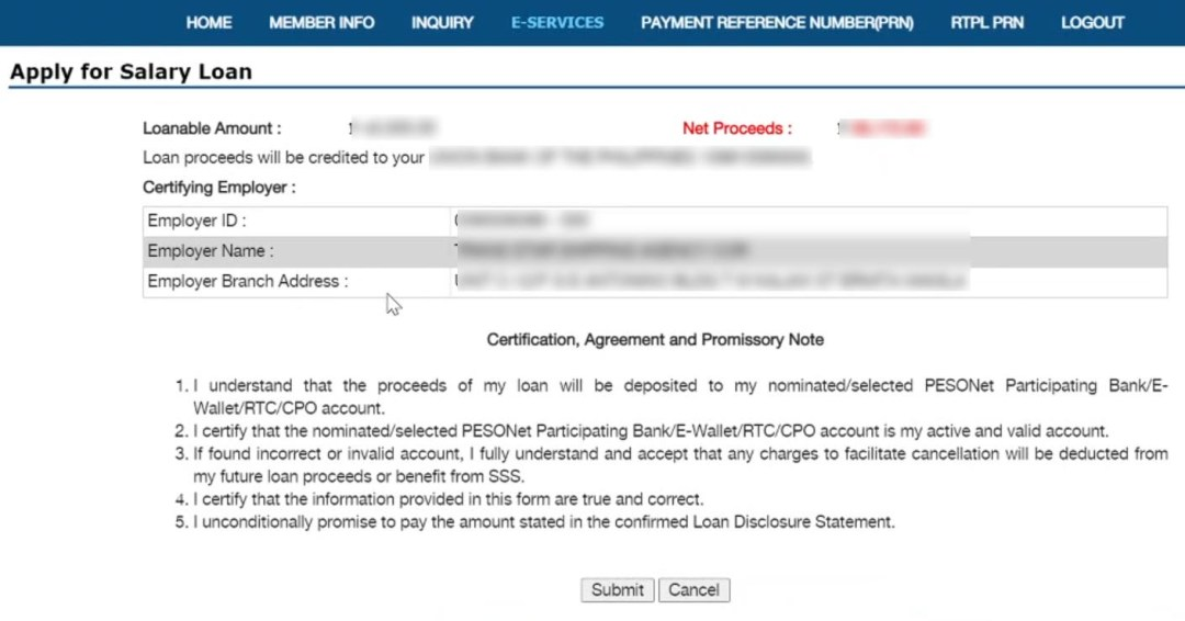 Certification, Agreement and Promissory Note