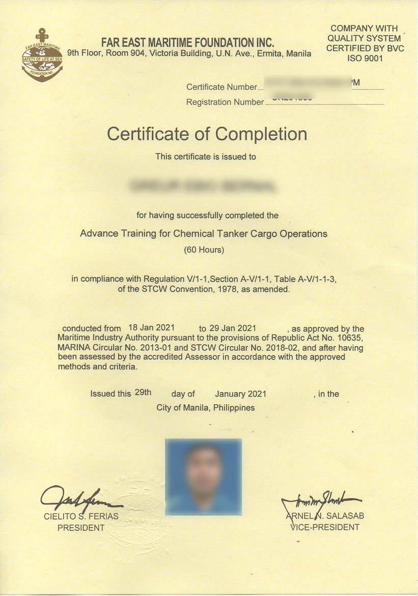 ATCTCO Certificate after my blended learning course