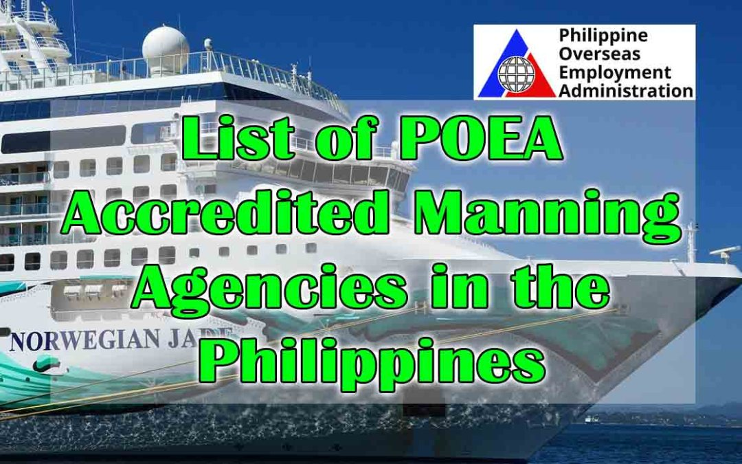 List of POEA Accredited Manning Agencies in the Philippines