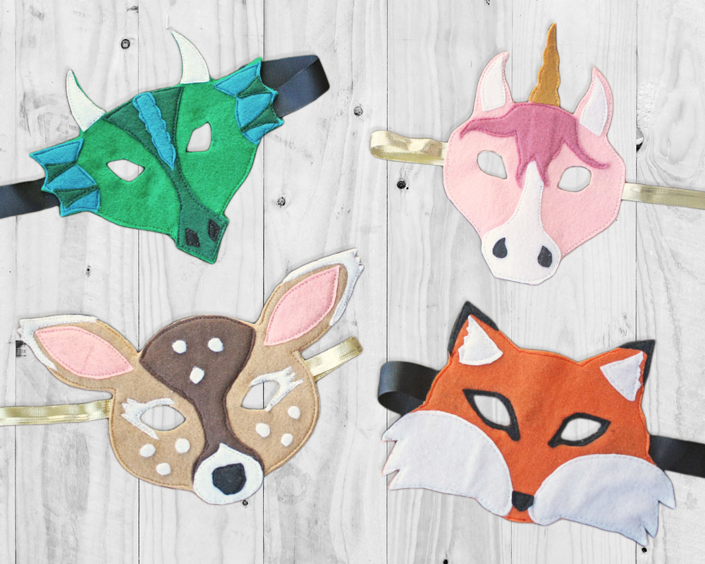 Animal Face Mask Halloween Sewing Patterns by Rebecca Page