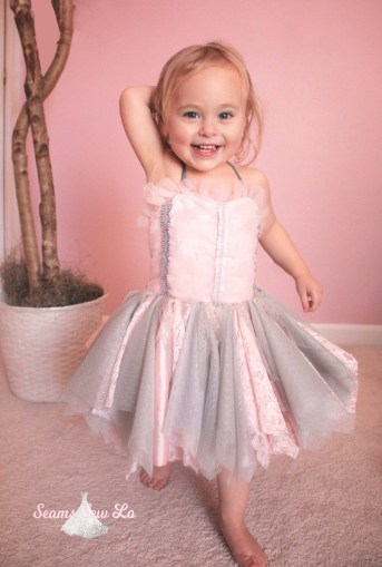 first birthday dress pink and gray diy