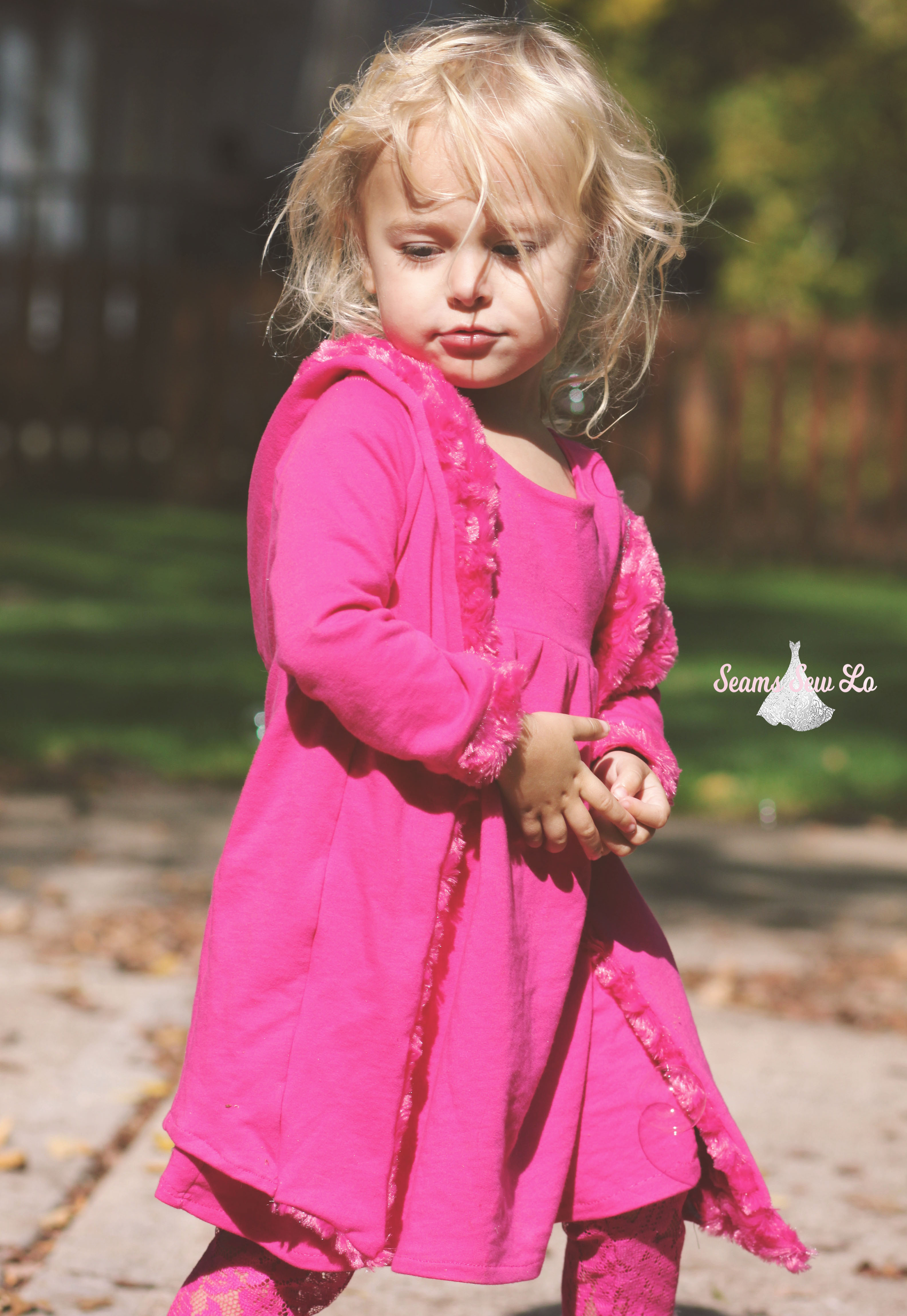 girls stay cozy jacket ellie and mac front french terry and minky pink fuchsia