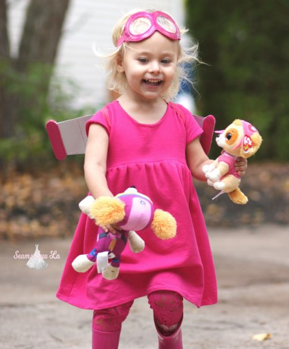paw patrol diy halloween costume skye pink