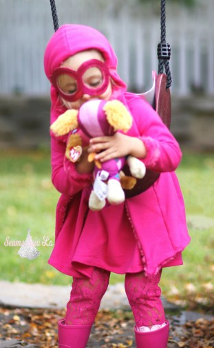 skye paw patrol costume kissing her stuffed animal