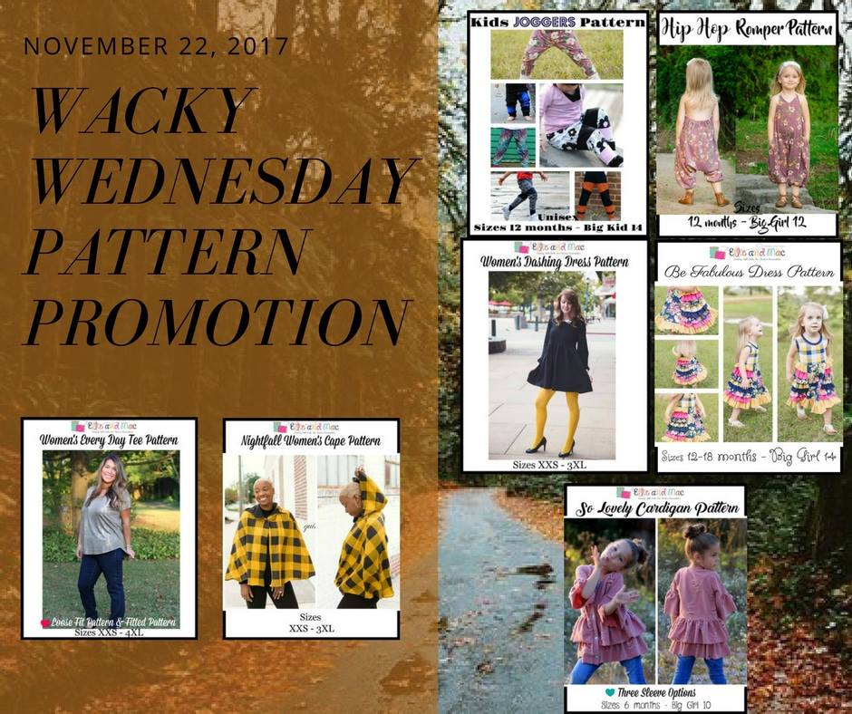 $1 Sewing Patterns Wacky Wednesday Deals at Ellie and Mac November 22