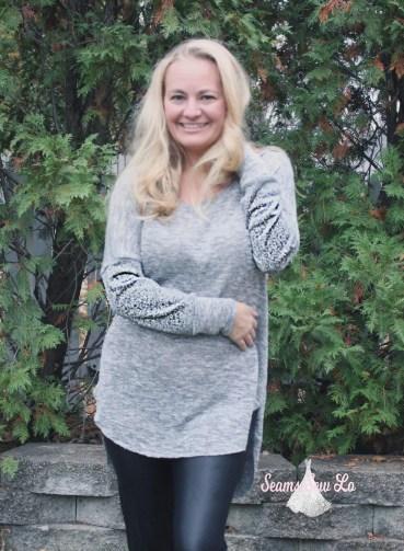 Petite stitchery Lulu Dolman Sewing Pattern women gray sweater knit 5