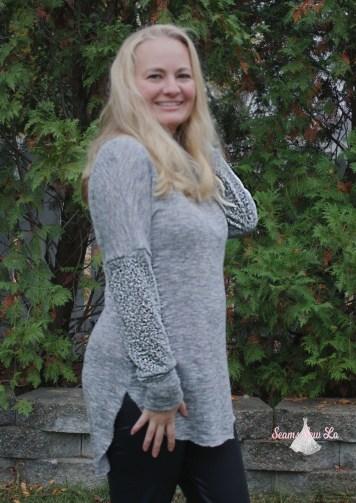 Petite stitchery Lulu Dolman Sewing Pattern women gray sweater knit