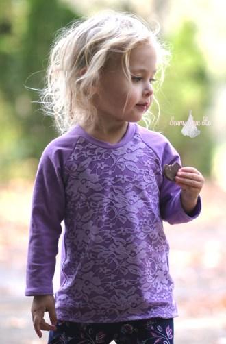 ellie and mac unisex raglan with purple lace 7