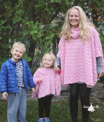mommy and me matching poncho jackets pink sewing pattern