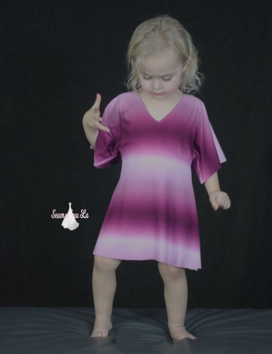 girls portia party dress sewing pattern in wine ombre double brushed polyester simply by ti 2