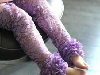 purple lace ruffled leggings sewing pattern