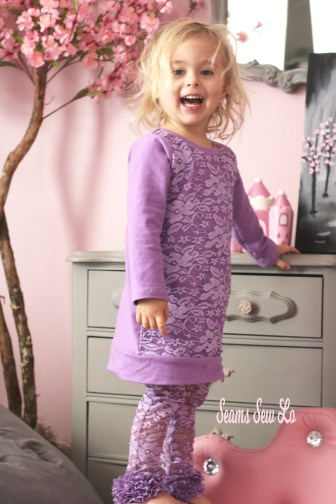 purple girls lace outfit with ruffle leggings