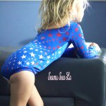 Blue ombre stars fabric Juliet leotard sewing pattern red white and blue