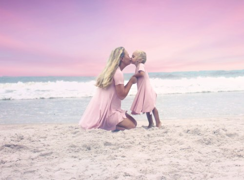Mommy and Me Beach photo idea, Pink Mommy and Me dresses