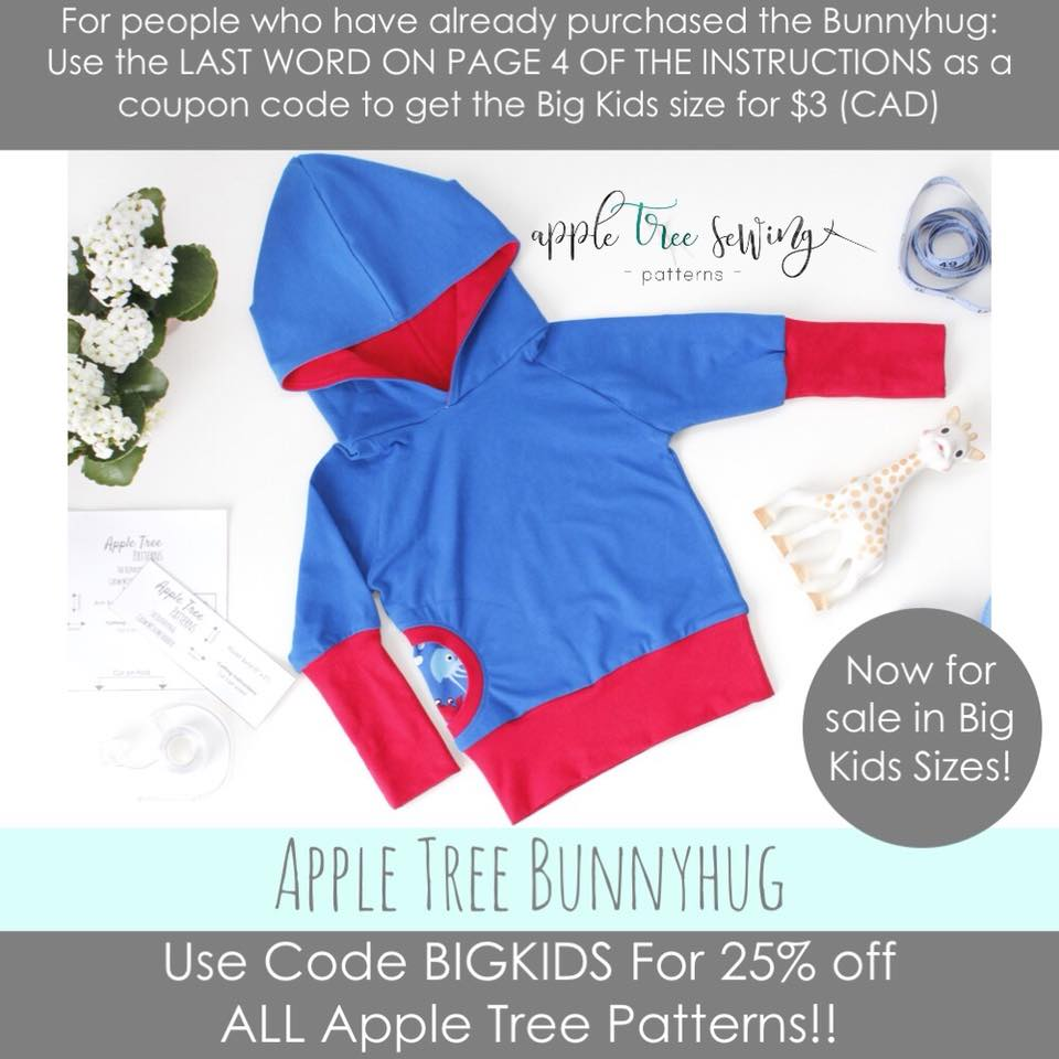 apple tree bunnyhug sewing pattern release and sale