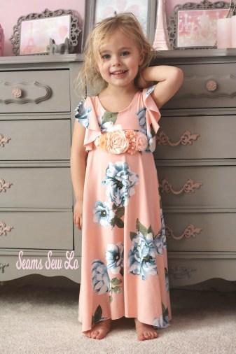 girls long dress knit fabric peach floral