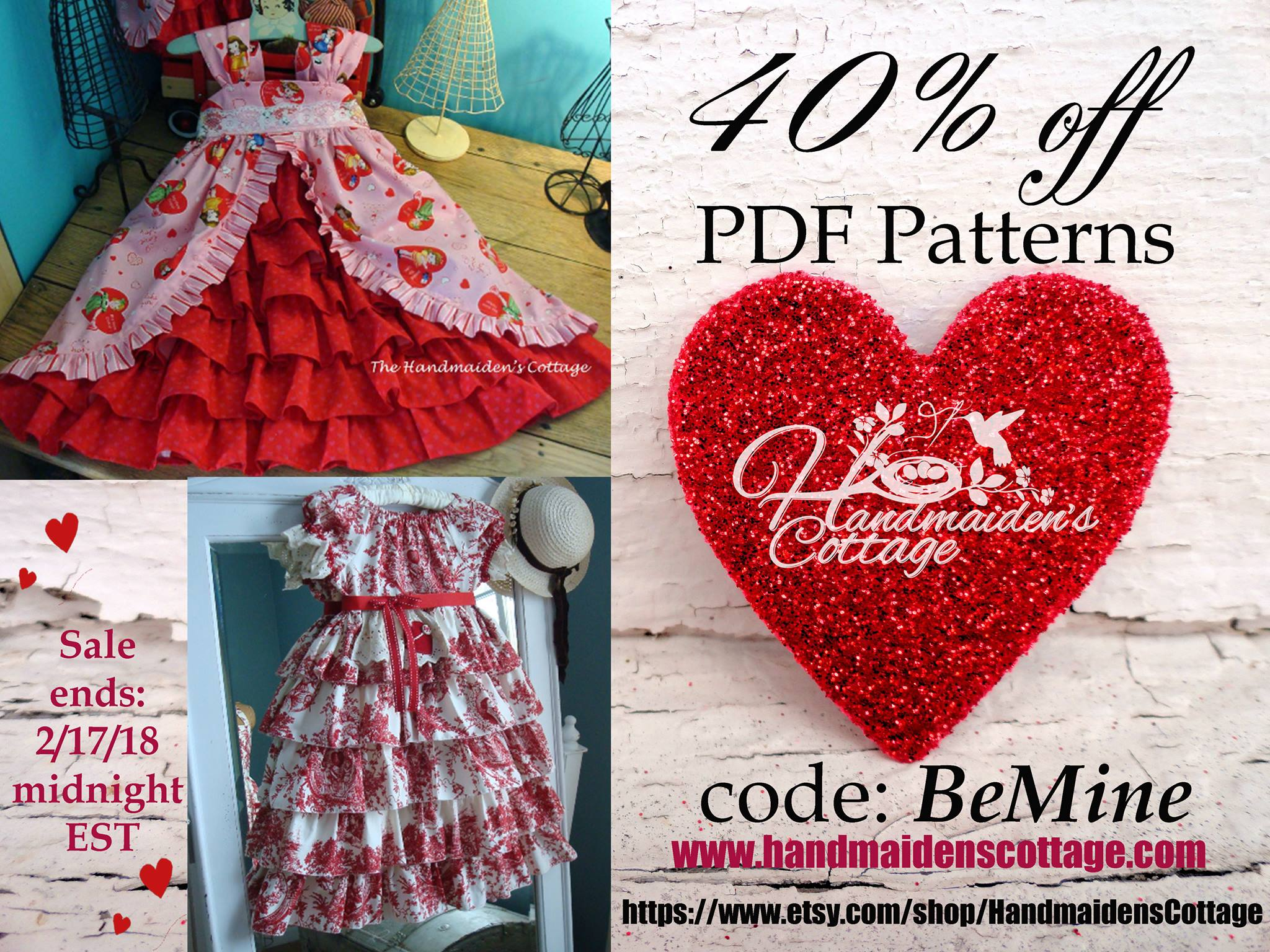 handmaidens cottage vintage girls dresses sewing patterns valentines day sale